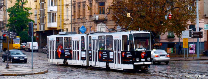 Реклама на трамваї у Львові