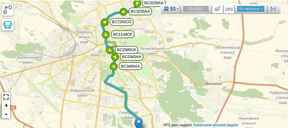 Схема руху автобуса №53