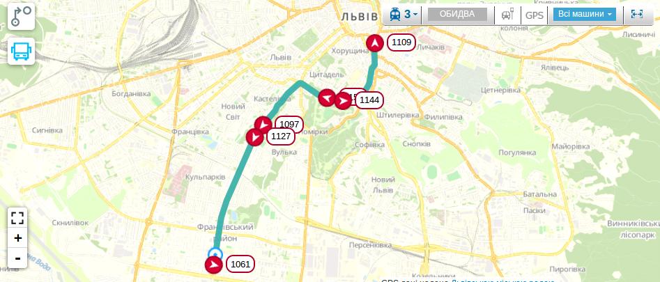 Схема руху трамваю №3