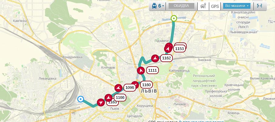 Схема руху трамваю №6