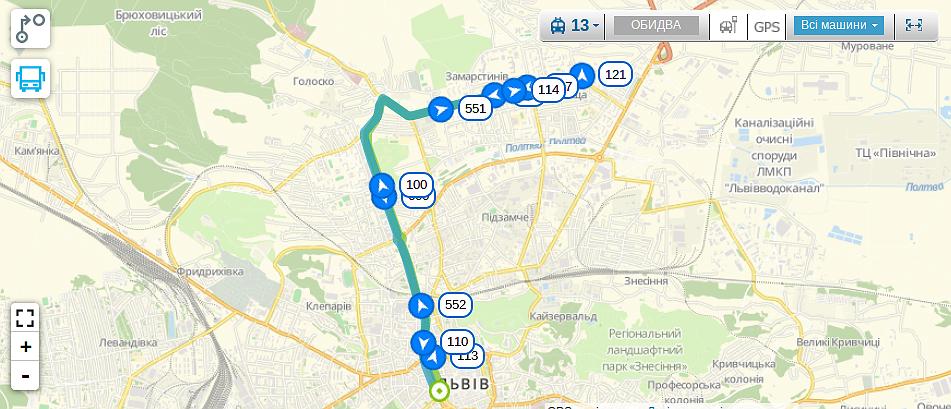 Схема руху тролейбуса №13