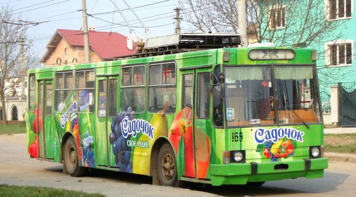 Реклама на тролейбусах в Івано-Франківську