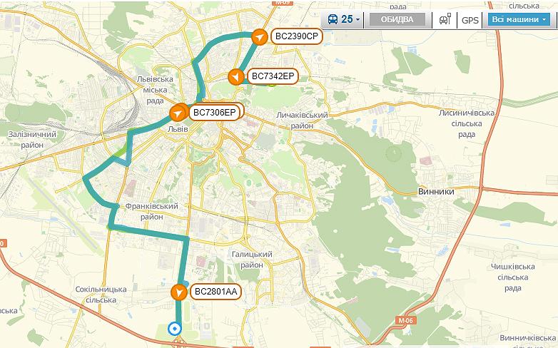 Схема руху маршрутки №25