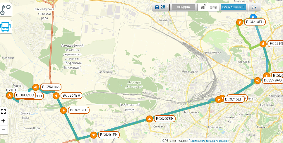 Схема руху маршрутки №28